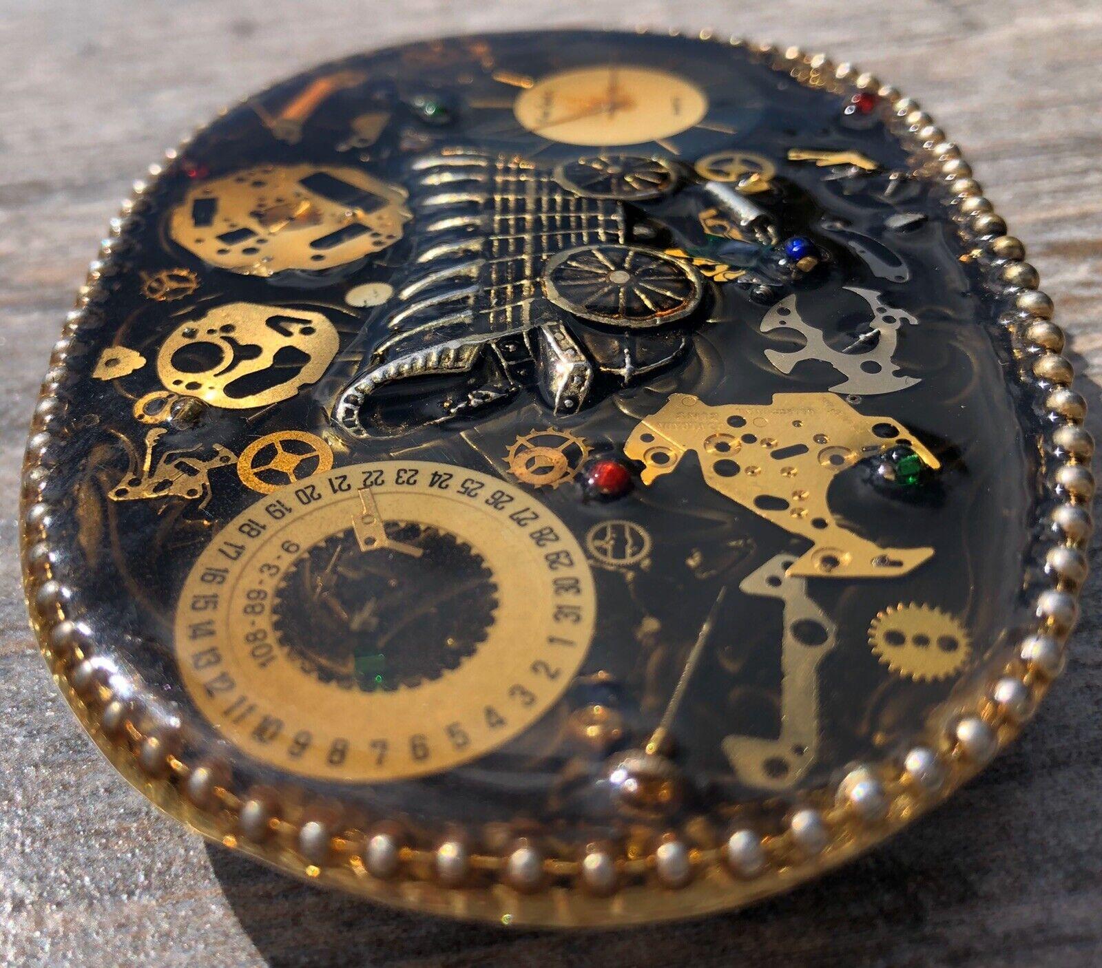 Steampunk Timepiece Vintage Brass Clock Mechanism or Movement Salvage Chic