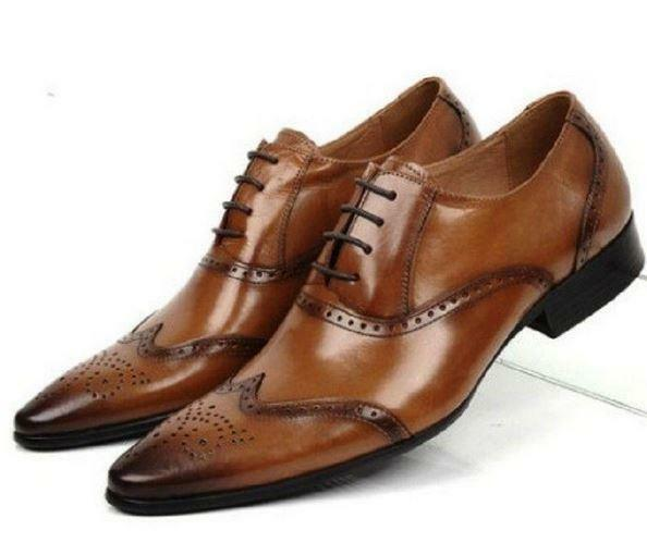 Uomo Retro Business Lace Up Pelle Formal Dress Oxfords Brogue Wing Tip Scarpe