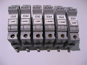 Qty-6-Single-Pole-Fuse-Block-DIN-Buss-CHCC1-30A-600V-w-Fuses-USED