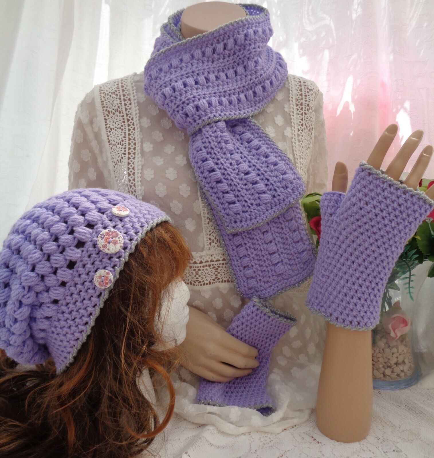 Handmade Crochet Ladies Hat Gloves and Scarf set - Ideal Gift - Lilac