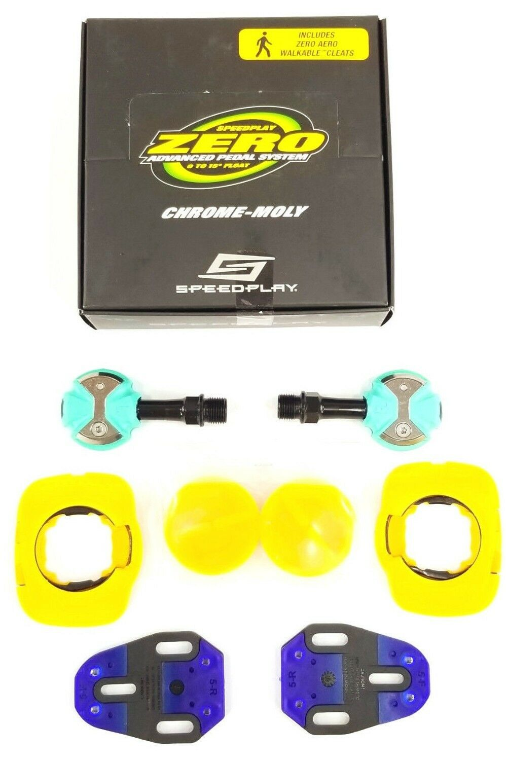 Speedplay Zero Cr-Mo Pedal Set w  Walkable Aero Cleats, Celeste Grün