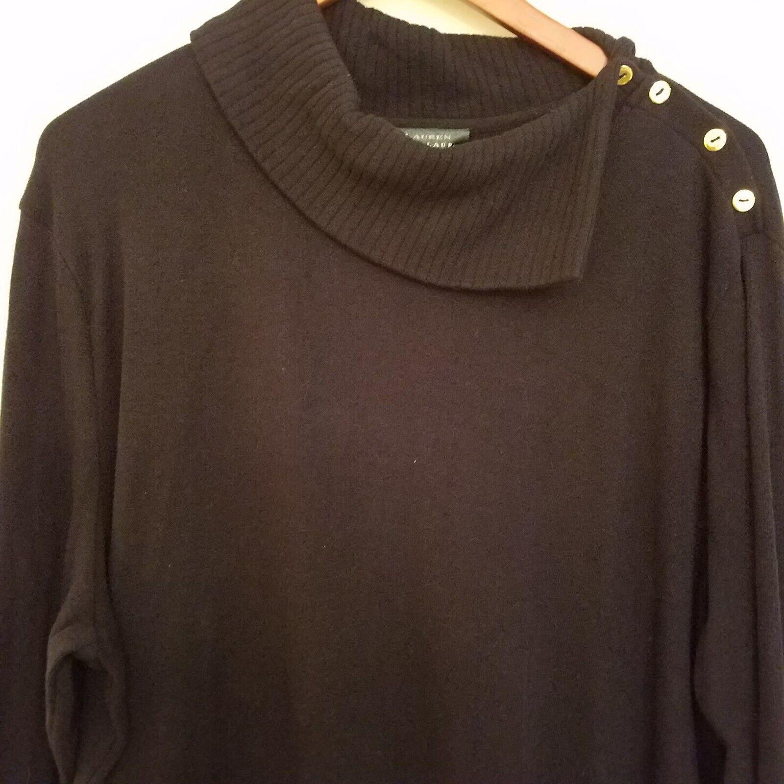 Ralph Lauren Plus Plus Plus Sweater Dress 3X Navy bluee gold Button Shoulder ae83c1