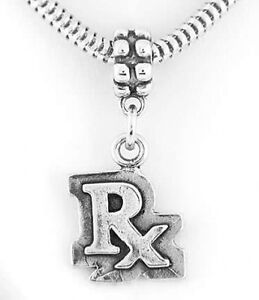 e1447fa7bf4bc Details about STERLING SILVER RX PHARMACIST SYMBOL DANGLE BEAD