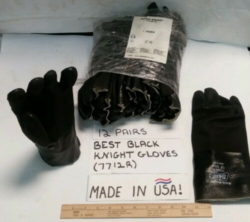 12 PAIRS- BEST BLACK KNIGHT USA MADE PVC-COATED GLOVES (7712R)- SIZE 10 LARGE
