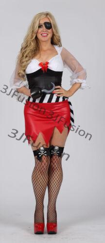 Caribbean Pirate Ladies Fancy Dress Captain Buccaneer Womens Costume Outfit M