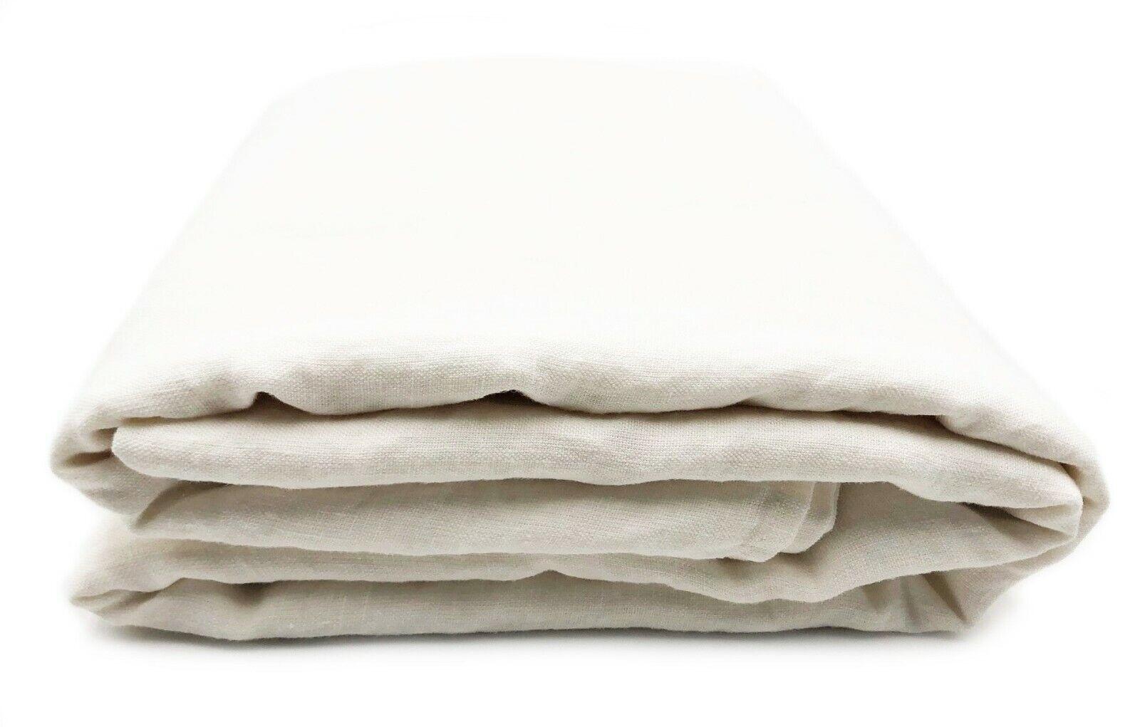 Bettlaken Laken Tuch Überwurf 100% Leinen  Stonewashed  230x250 cm, Off Weiß