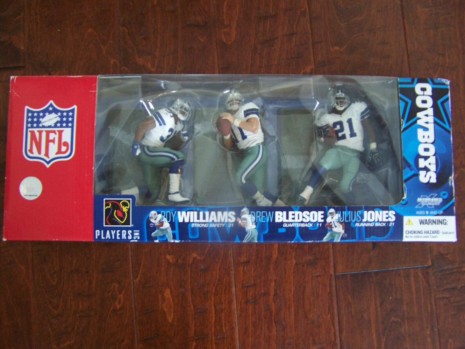 McFarlane Dallas Cowboys boxed set-Bledsoe, Williams, and Jones action figures