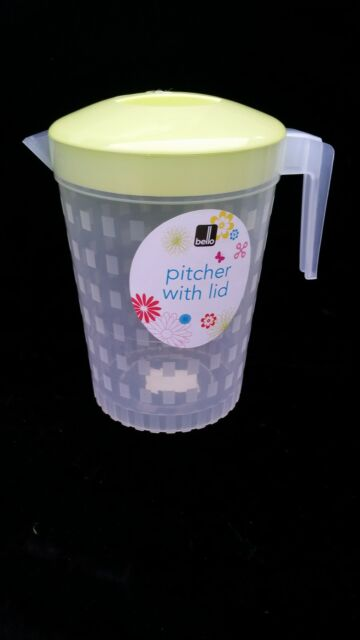 Plastic 2 litre multi purpose pitcher jug with coloured Lid Juice water picnic