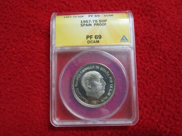 SPAIN 1957 (75) 1975 50 PESETAS HIGH GRADE PROOF ANACS PF 69 DCAM 50p Numismatic