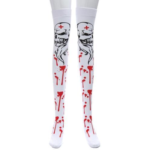 Damen High Stretchy Horror Bloody Socken XmasHalloween Party über Kniestrümpfe