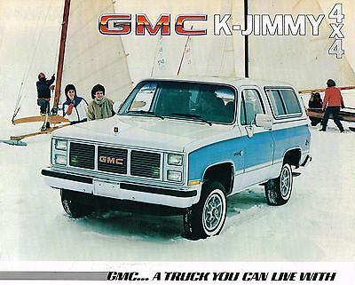 1985 Gmc Camion K Jimmy Brochure / Catalogo W/ Colore Chart: K-1500 4x4 4wd Ampia Selezione;