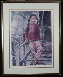 """Wai Ming Signed """"Pinkfish Girl"""" Lithograph Limited Edition 1977 Well Framed"""