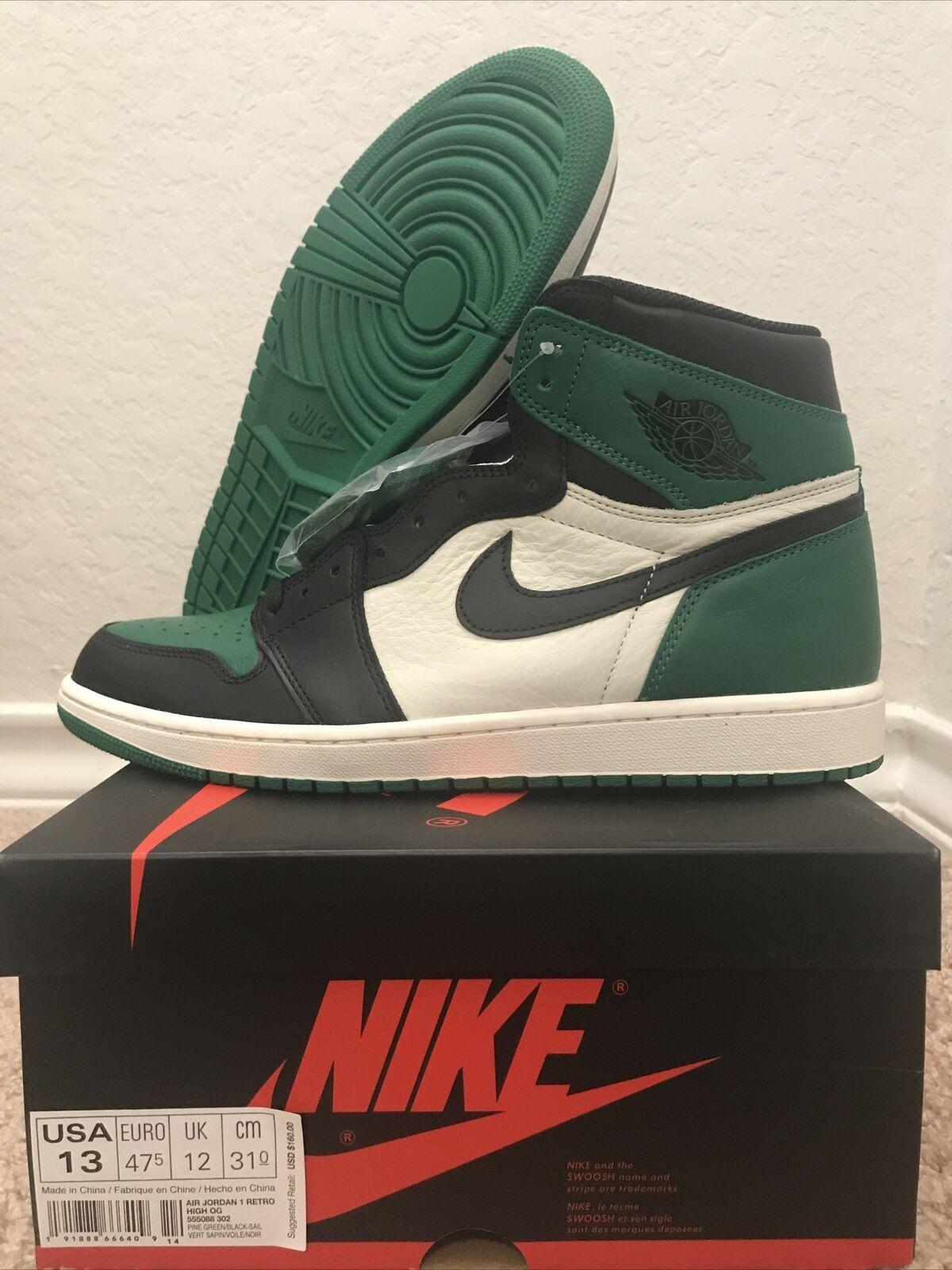 Nike Air Jordan 1 Retro High OG Size 13 - Pine Green/ Black Sail ...