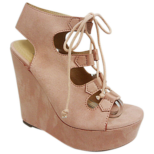 Womens Ladies High Open Toe Heel Wedge Platform Lace Up Sandals Shoes Size