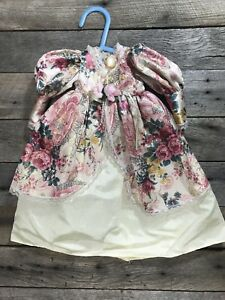 Vintage-Antique-Doll-Dress-Victorian-Pink-And-White-Lace-Rose-Floral-14