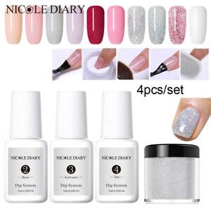 NICOLE-DIARY-4Pcs-Set-Dipping-Powder-Nail-Starter-Kit-Tips-Nail-Art-Liquid-Gel