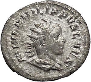 PHILIP-II-Roman-Caesar-with-globe-245AD-Silver-Rare-Ancient-Roman-Coin-i48767
