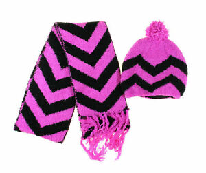 f48f02f8827 Details about Jumping Beans Girl Size S Purple   Black Chevron Chenille Hat    Scarf Set 2Pc.