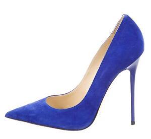 744bfce1b $595 JIMMY CHOO Blue ANOUK Suede 37 Stiletto Pumps Shoes Heels | eBay