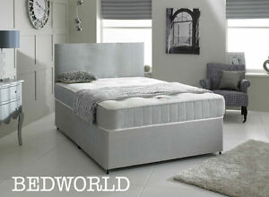 NEW GREY MEMORY FOAM DIVAN BED SET WITH MATTRESS HEADBOARD 3FT 4FT6 Double 5FT