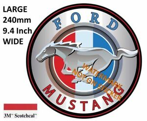 NEW-VINTAGE-FORD-MUSTANG-DECAL-STICKER-LABEL-9-INCH-DIA-230-MM-HOT-ROD