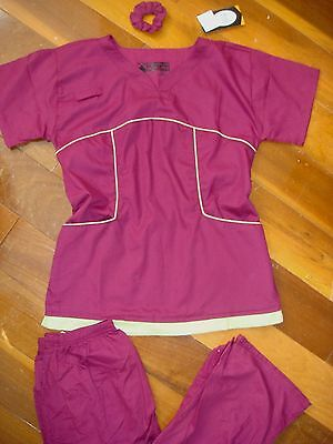 Adelie Women New Stylish Nurses Scrub Set Top + Pant Burgundy Wine Celadon Trim