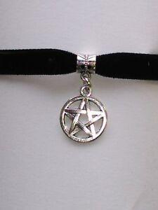 Adjustable-Black-Velvet-Pentagram-Pentacle-Choker-necklace-Wiccan-Pagan-Gothic
