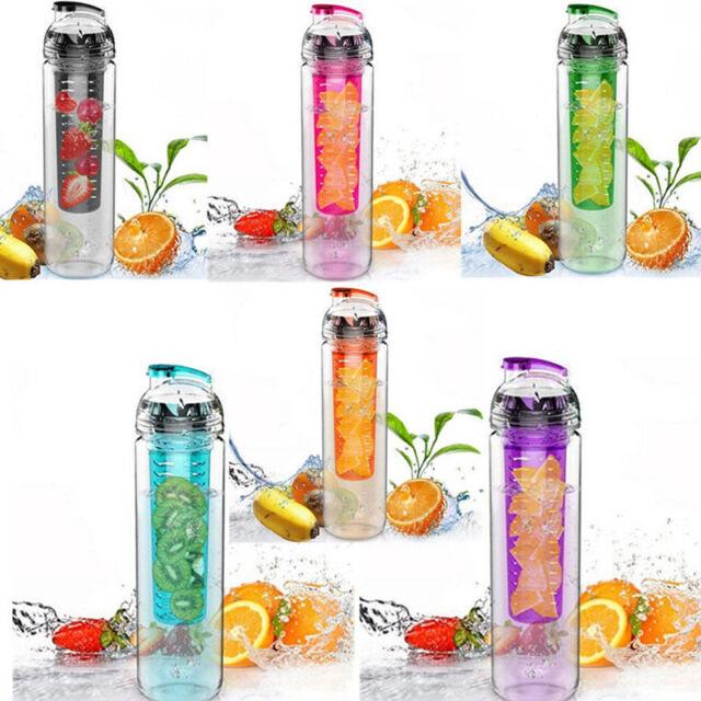 Hot 700ML Fruit Juice Infusion Infuser Water Bottle Sport Health Flip Lid BPA