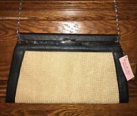 Vintage Camy Couture Tan Woven With Black Leather Trim Purse Clutch,