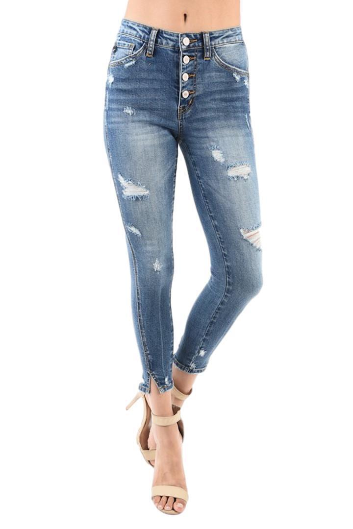 Kan Can Barlett-Winifred Exposed Button Fly Split Ankle Wash Skinny KC5109M