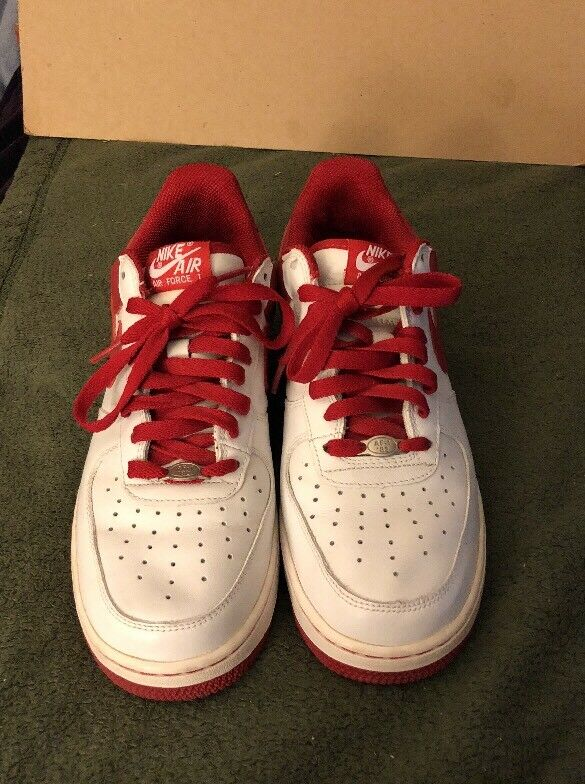Nike Air Force 1 Mens Shoe Sneaker Size 7.5 VARSITY White / RED  306353-167 New