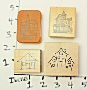 Wooden-RUBBER-STAMP-Block-Lot-Houses-Buildings-Victorian-Home-Border