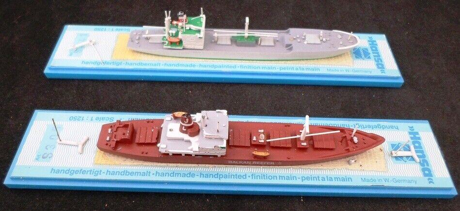 Lote de 2 Hansa 1 1250 maquetas de barcos  305 los Balcanes Hierba & 341 azulmenthal Hierba