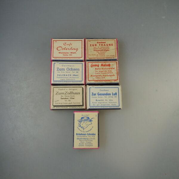Begeistert Konvolut 7 Streichholzschachteln Gasthäuser Um/ab 1950 (57109) Hoher Standard In QualitäT Und Hygiene