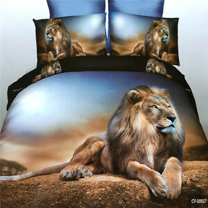 3D-Alone-Desert-Lion-Duvet-Quilt-Cover-Pillowcase-Bed-Set-Queen-Size-L