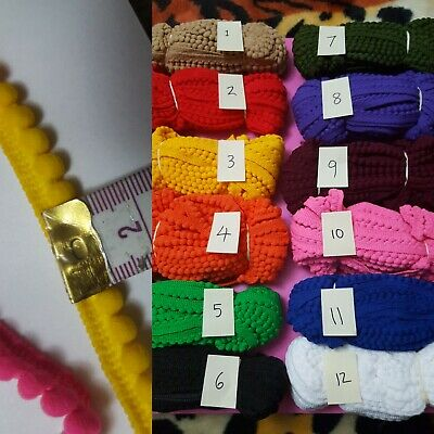 1 Meter Indian PomPom balls Trim Lace Ethnic Ribbon Craft Dupatta Border