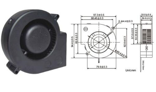 1pc DC Cooling Blower Fan 97mmx97mmx33mm 97mm 9733S 12V 3wire//3pin Connector