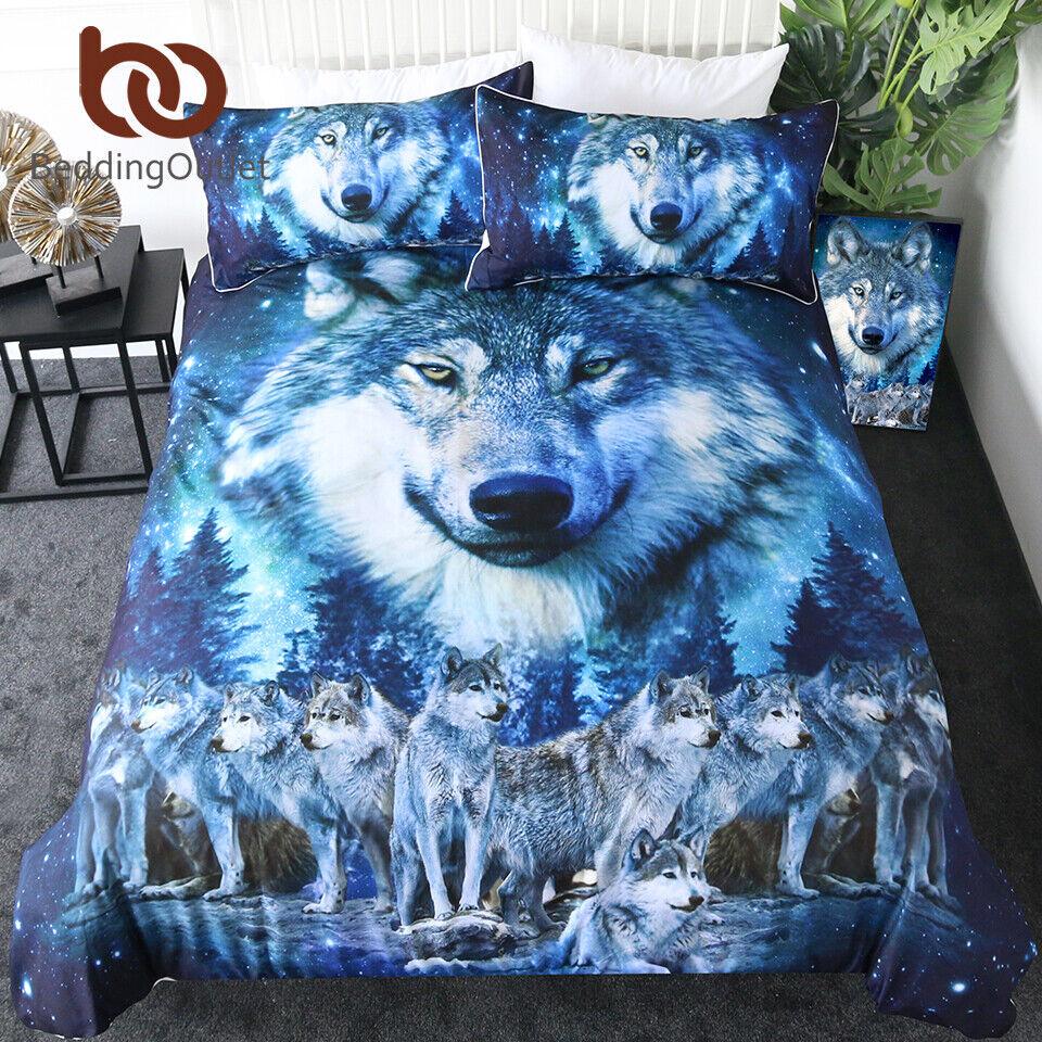 BeddingOutlet Wolf Bedding Set Galaxy Star Duvet Cover Queen 3D Print Animal