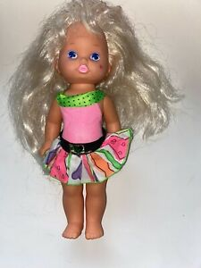 Vtg-MATTEL-1988-LIL-MISS-MAKE-UP-DOLL-Original-Outfit-12-034-Rainbow-Streaked-Hair