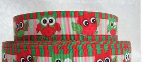 Owl Christmas 7//8 grosgrain ribbon hair bows keychains FREE SHIP