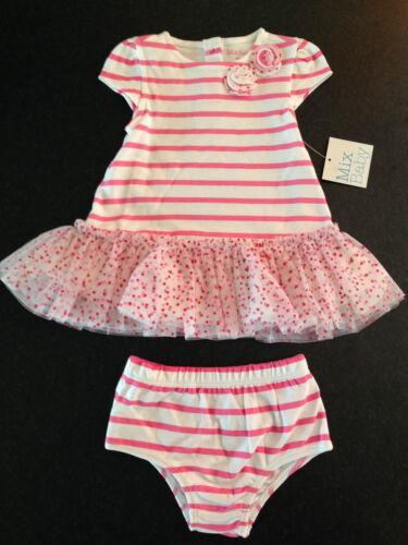 BNWT Baby Girls 00 Mix Brand Pretty White /& Pink Tutu Ruffle Dress /& Pants Set