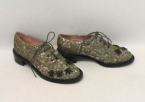 BNIB-ROCHAS-Ladies-Green-Floral-Brocade-Embroidered-Lace-Up-Derby-Shoes-UK3-EU36