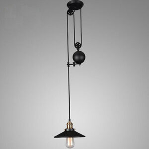 Retractable Pulley Lamp Vintage Hanging Ceiling Light