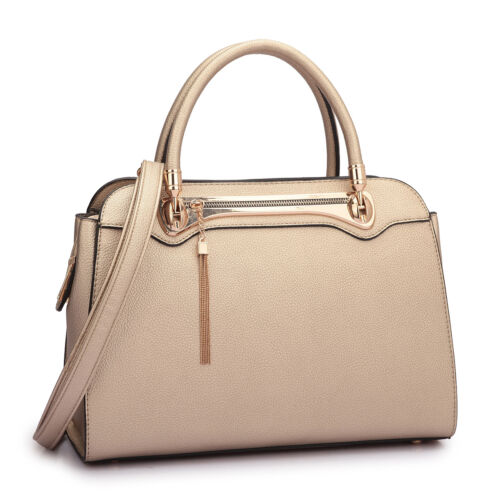 Dasein Womens Handbags Faux Leather Satchel Tote Bag Top Handle Medium Purse