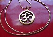 "Golden Buddhist Ohm Mantra Sanskrit Pendant on an 24""  Gold Filled Snake Chain"