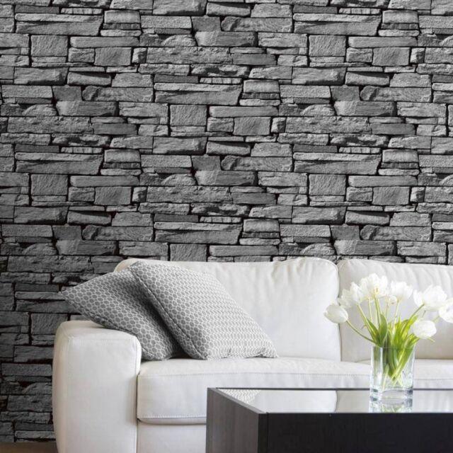 grandeco 827088 papel mural dise o de piedra color gris On papel mural con diseno de piedra