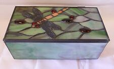 Beautiful Green Dragonfly Glass Beaded Jewel / Trinket Box - More In Store