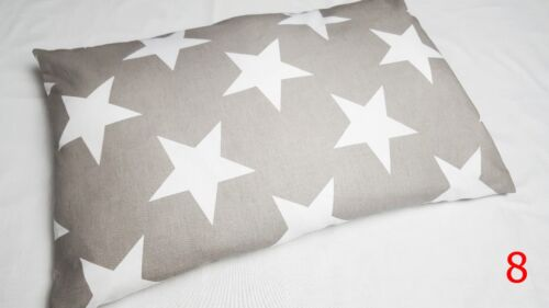 PILLOW CASE 100 /% COTTON COVER 40x60 cm for COT JUNIOR BED PATTERN STARS FLOWERS