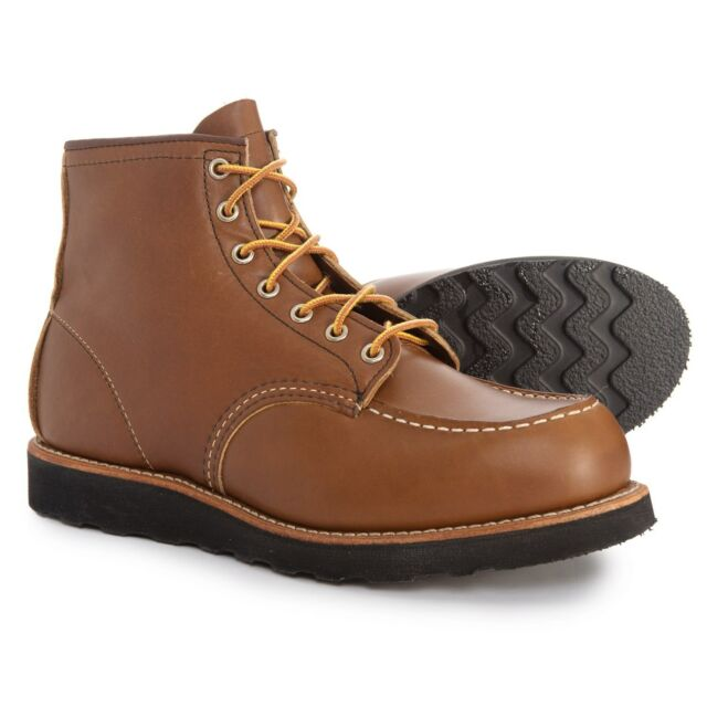 """10 E Wide RED WING 8852 CLASSIC MOC 6"""" men's Brown Leather Lace-up Work Boots"""