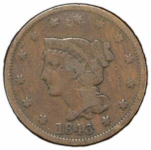 1843 1c Braided Hair Large Cent - Original Fine Coin - SKU-Y1259